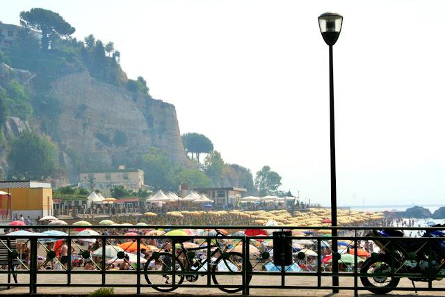 ombrelloni, collina, bicicletta, mare, acqua