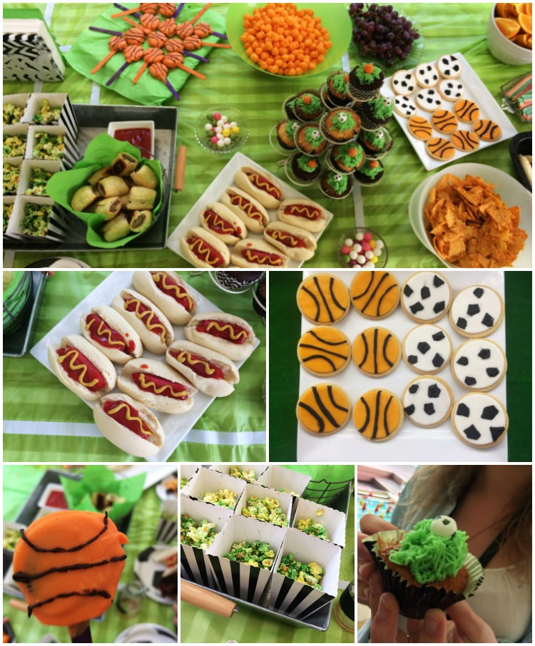 Sports party themed food