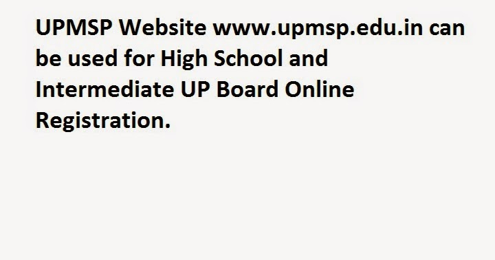 UP Board Online Registration UPMSP Login at upmsp.edu.in