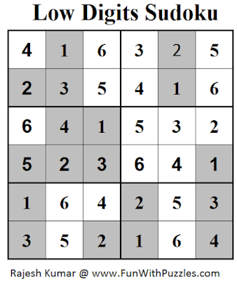 Low Digits Sudoku (Mini Sudoku Series #51) Solution