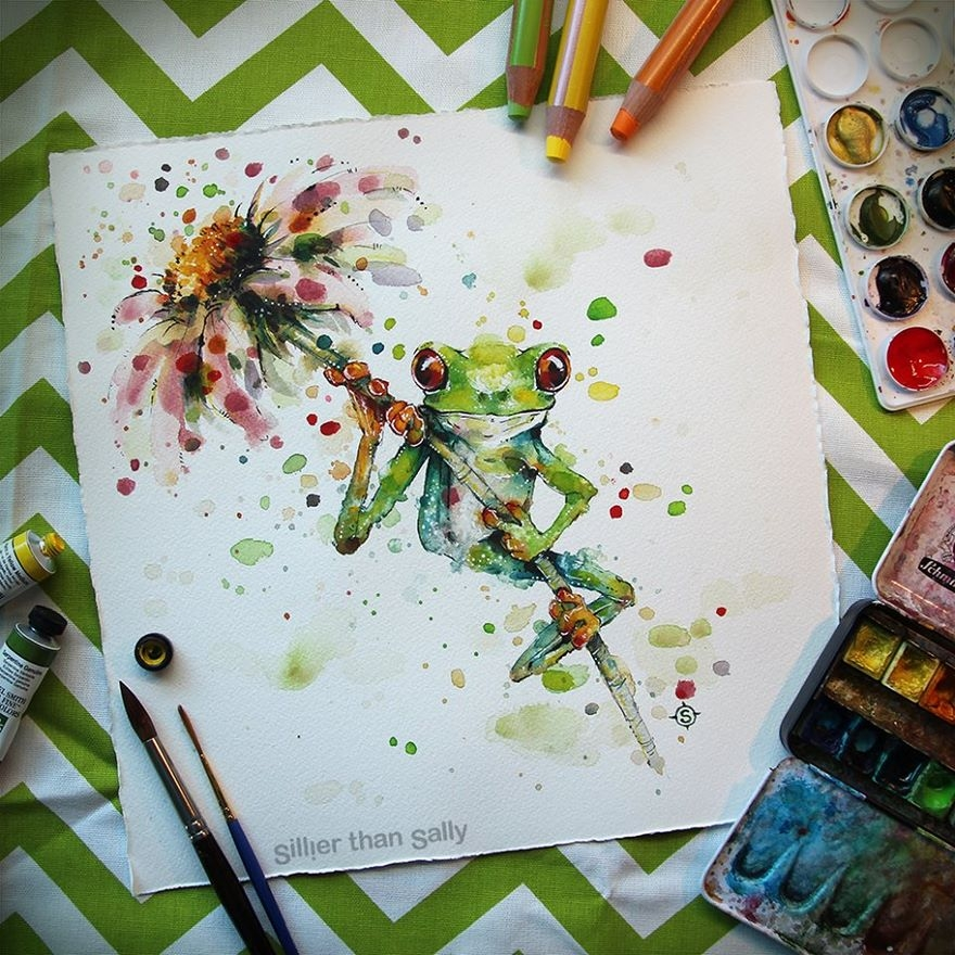 11-The-Happy-Frog-Sally-Walsh-sillierthansally-Watercolour-Portraits-Paintings-of-Wildlife-www-designstack-co