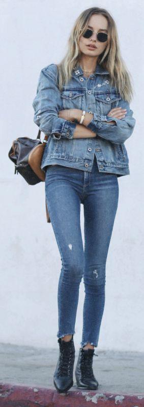 fall denim outfit idea / bag + jacket + skinnies + bag