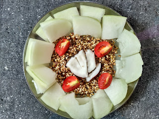 Ash gourd, Dew gram sprouts, Tomato, Coconut