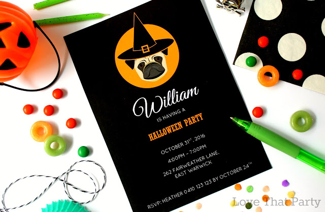 halloween invitation with pug in black white orange pug in witches hat