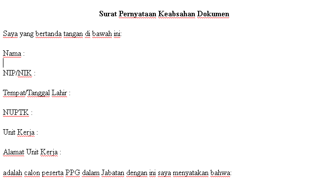 Contoh Surat Pernyataan Keabsahan Dokumen PPG yang Baik dan Benar