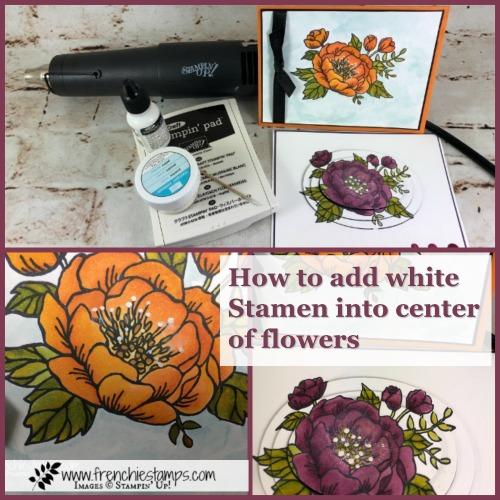 Birthday Blooms. Stamen White stamping, Stampin'Up!, Frenchiestamps, Tip Video