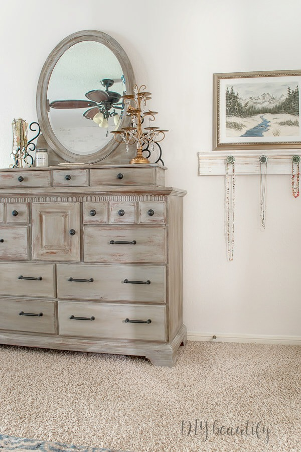 painted dresser and jewelry display