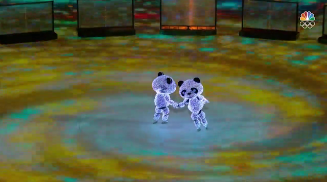PyeongChang 2018 Winter Olympics Closing Ceremony two panda skaters Beijing 2022