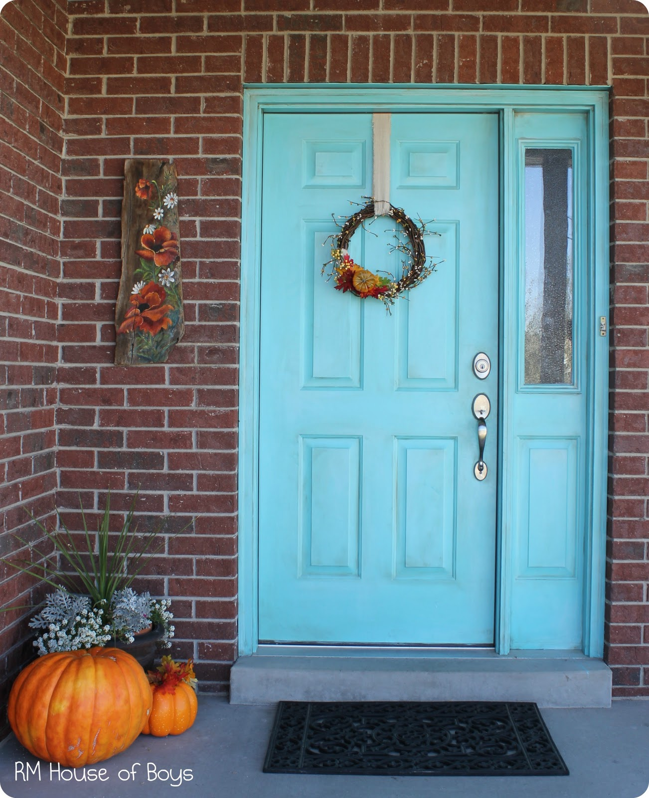 What Does A Red Front Door Mean: House Of Noise... I Mean Boys.: Fall Wreath And Aqua Door