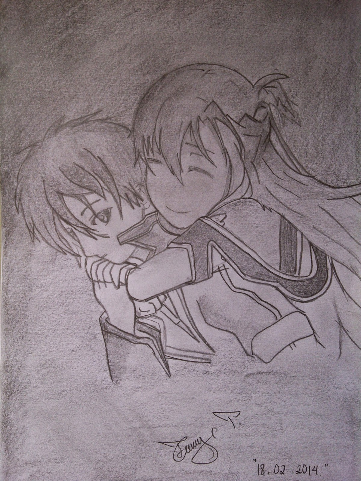 Imagean pensil anime couple islami pencil sketch