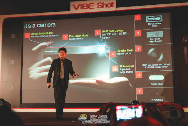 Lenovo VIBE Shot is a camera phone with 16 MP Rear Camera and manual shutter button