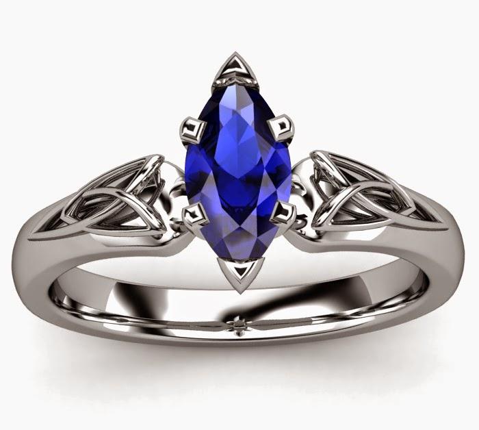 Wedding Ring Beautiful Blue Gem