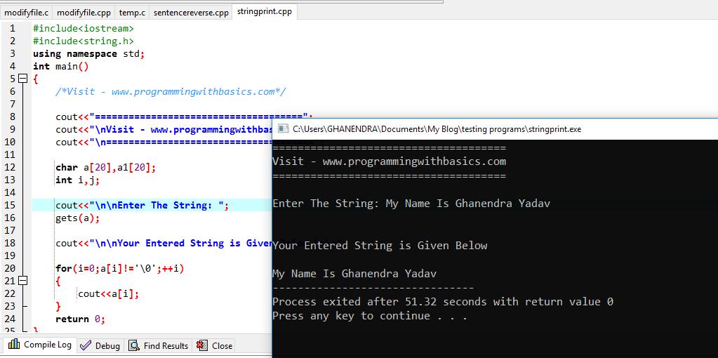 C++ Program To Print A String