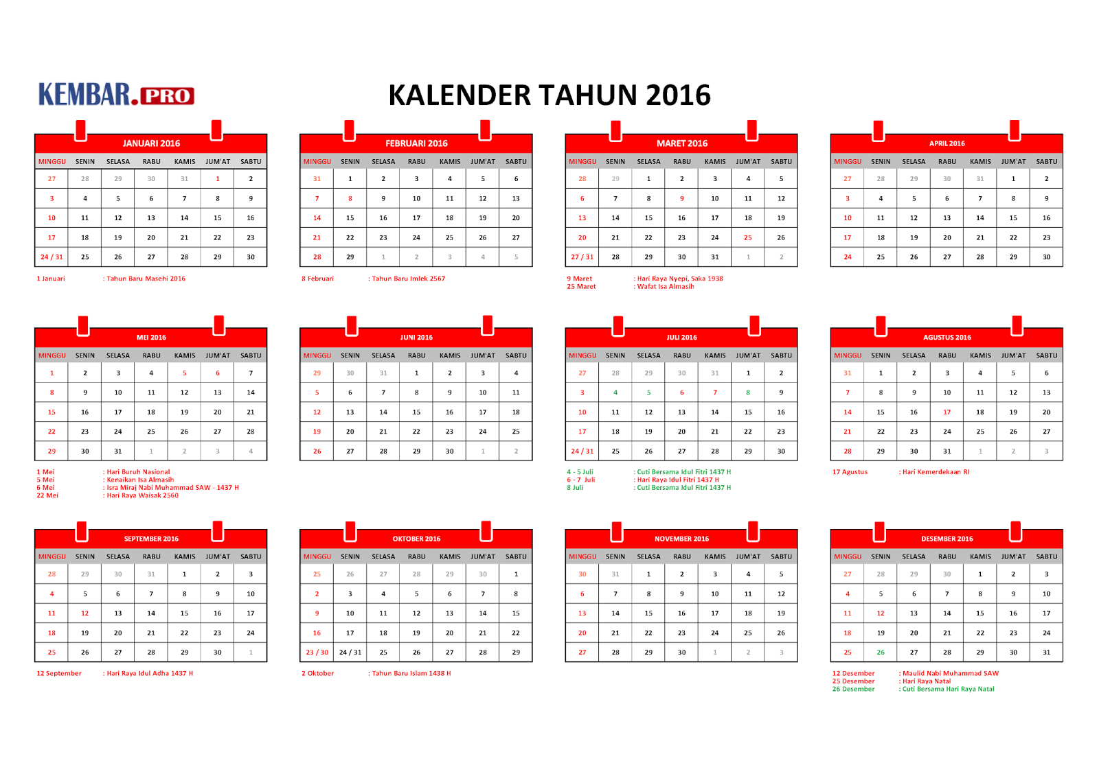 kalender 2016 praktis dan hari libur nasional. Black Bedroom Furniture Sets. Home Design Ideas