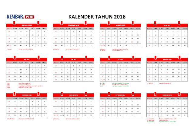 Kalender 2016 dan Hari Libur Nasional