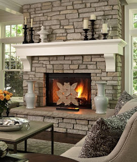 big stoned fireplace with white accent mixed with cream seating area furnitures idea