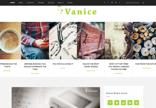 Vanice Standard Responsive Blogger Template