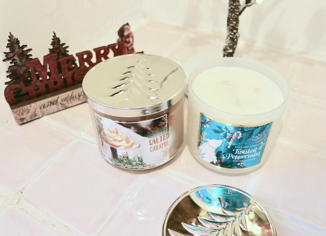 Huge Bath & Body Works Christmas Haul 3 Wick Candles Salted Caramel & Twisted Peppermint