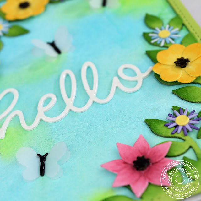 Sunny Studio Stamps: Botanical Backdrop Hello Word Die Hello Card by Angelica Conrad