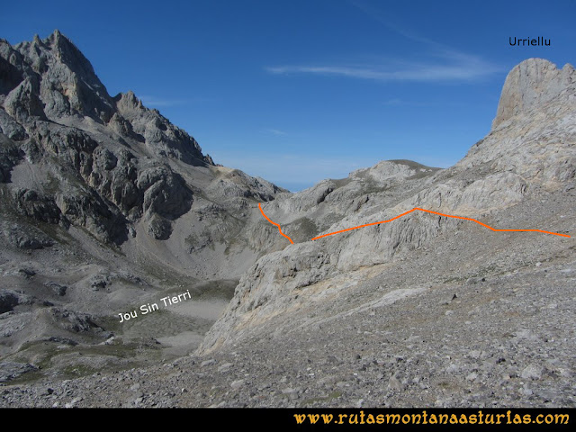 Ruta Vegas del Toro, Canal del Vidrio, Peña Vieja, Urriellu: Atravesando el Jou Sin Tierri