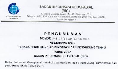 Lowongan Kerja Badan Informasi Geospasial  Berbagai Posisi Tahun 2017