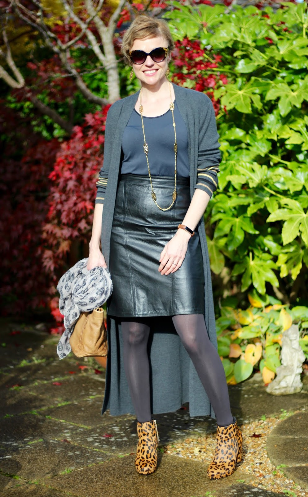 50 Shades of... Black | Leather and Leopard Autumn Outfit