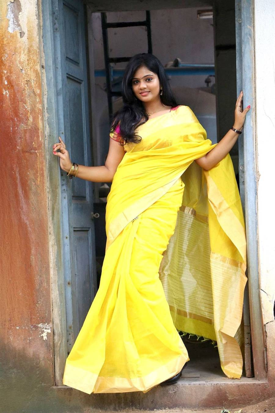 Beautiful Tamil Girl Megana In Traditional Indian Yellow ...