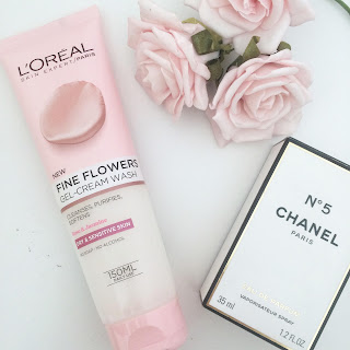 skin care routine, skin products, beauty, L'oreal, gel-cream wash, face wash, pink, fine flower, Chanel No.5, flowers,