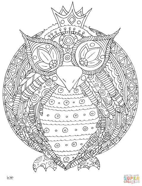 Click The Owl With Tribal Pattern Coloring Pages To View Printable Version  Or Color It Online Patible With Ipad And Android Tablets