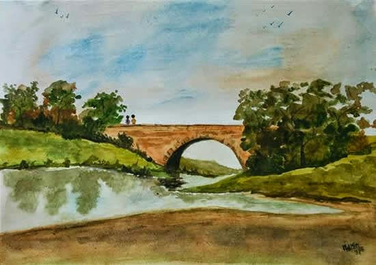 By the Bridge, watercolour painting by Narendra Gangakhedkar (from the artist's portfolio on www.indiaart.com)