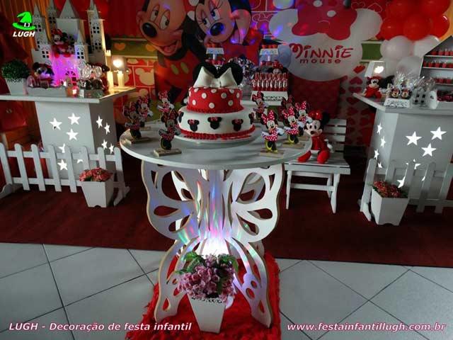 Decoração mesa de aniversário infantil tema da Minnie provençal - Festa temática