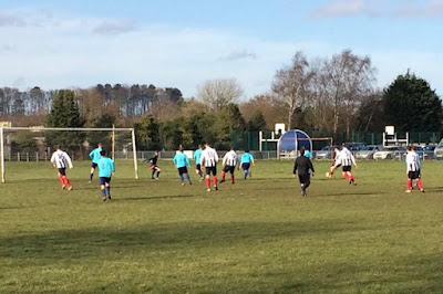 Football action from the Scunthorpe League game between Barnetby United and AFC Queensway - February 2019