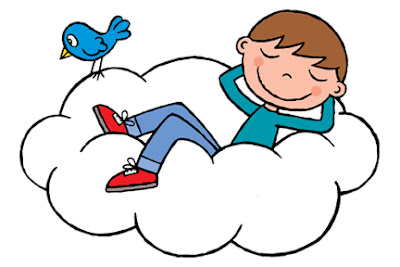 kids cartoon illustration of sleeping boy reclining on a cloud