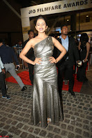 Rakul Preet Singh in Shining Glittering Golden Half Shoulder Gown at 64th Jio Filmfare Awards South ~  Exclusive 050.JPG