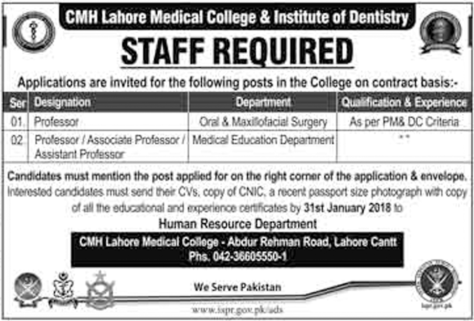 CMH Lahore Medical College And Institute Of Dentistry jobs Jan 2018
