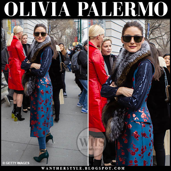 Olivia Palermo in blue and red floral print coat with fur cara mila stole collar and green jimmy choo lark pumps fashion week outfit february 2019