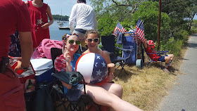 celebrating July 4th at the harbor in Quisset, MA