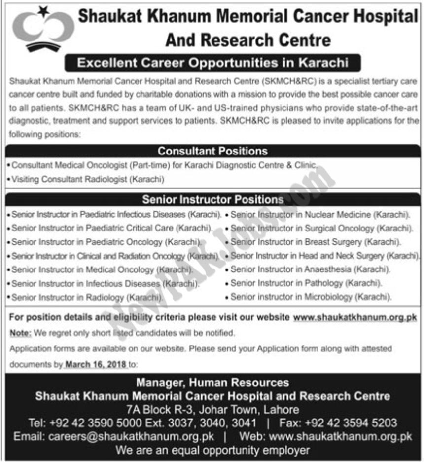 Vacancies  announced in Shaukat Khanum Memorial Cancer Hospital