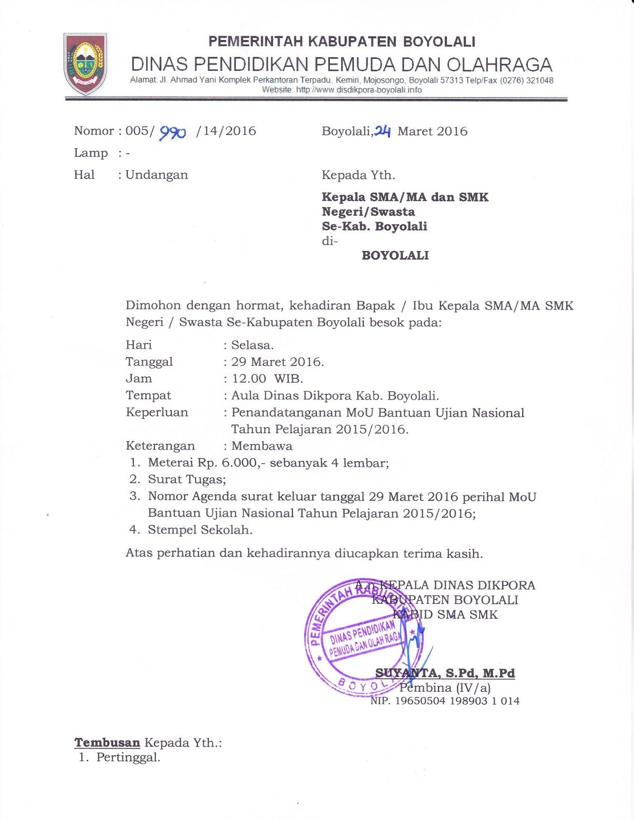 Info Sma Smk Kabupaten Boyolali Undangan Penandatanganan Mou Bantuan Un 2016
