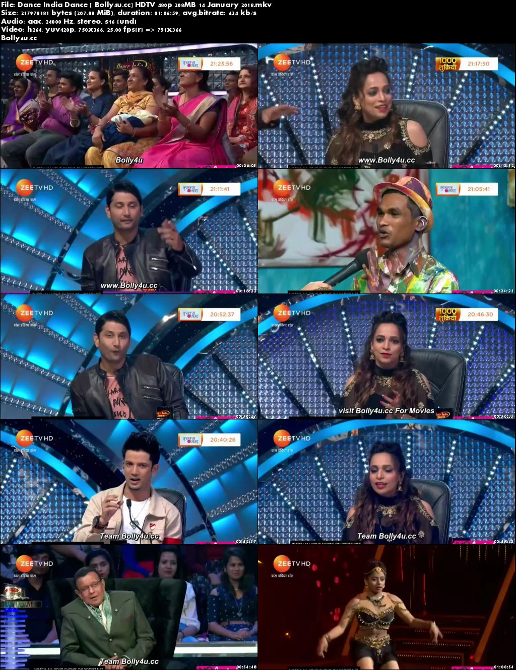 Dance India Dance HDTV 480p 208MB 14 January 2018 Download