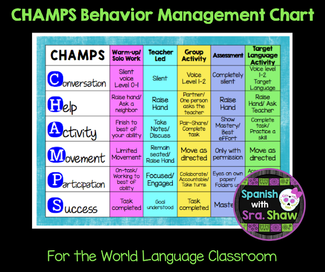 CHAMPS Poster for World Langauge Classroom Management