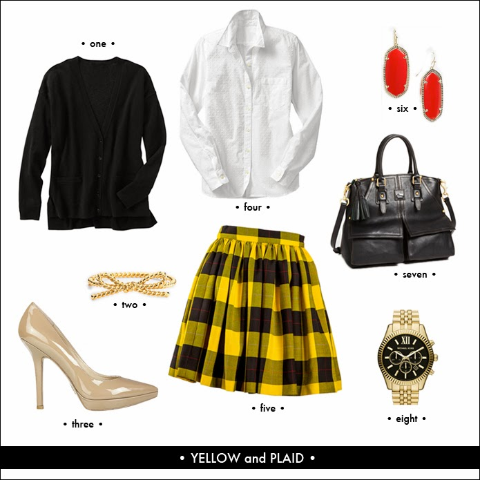 yellow plaid skirt, skater skirt, plaid look, fashion, style, trends, michael kors watch, love fury pump, kate spade bow bracelt, nordstrom