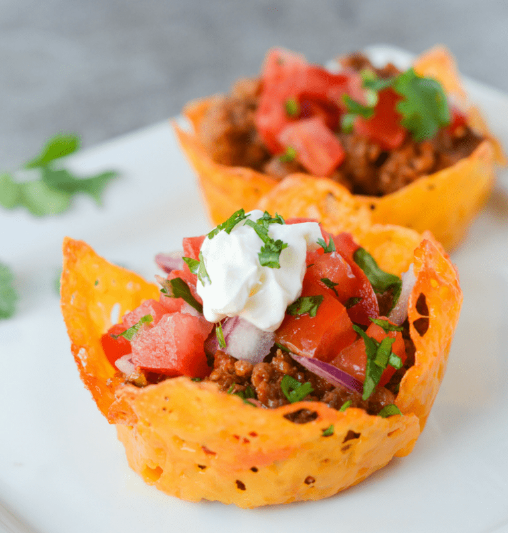 KETO CHEESE SHELL TACO CUPS