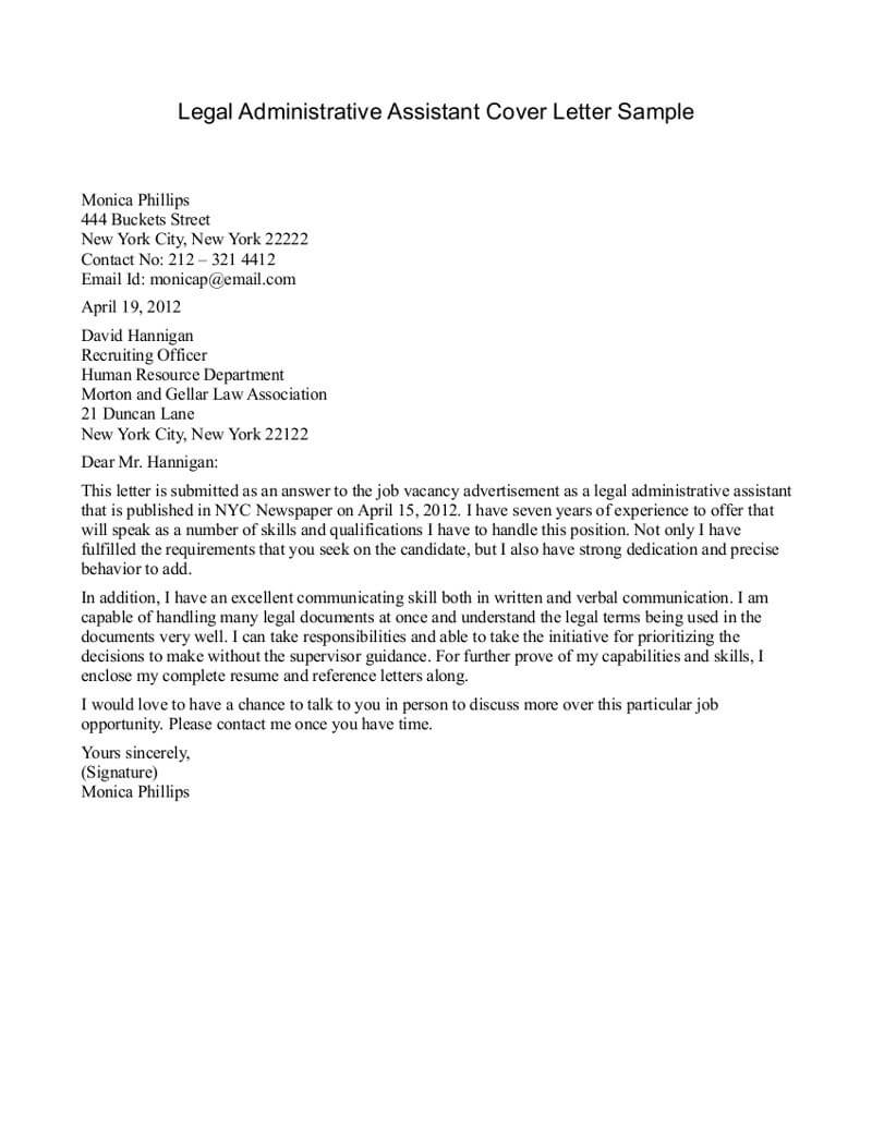 Administrative Secretary Cover Letter With No Experience