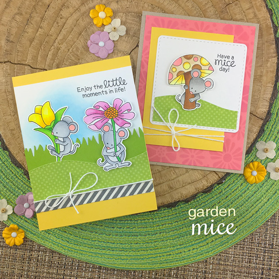 Mouse Cards by Jennifer Jackson | Garden Mice Stamp Set by Newton's Nook Designs #newtonsnook #handmade