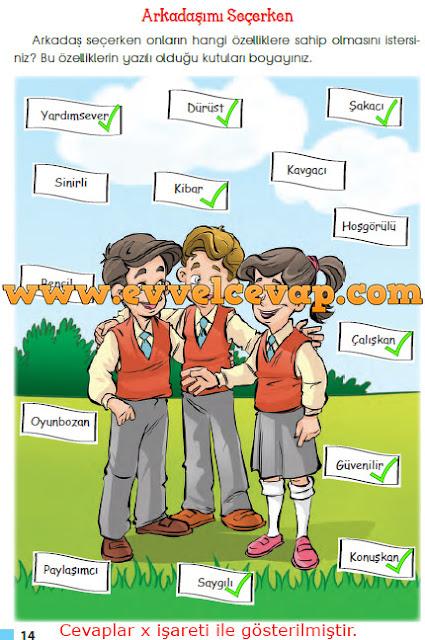 3. Sınıf Sevgi Yayınları Hayat Bilgisi Ders Kitabı 14. 15. Sayfa Cevapları 1.Kitap Arkadaşımı Seçerken Metni