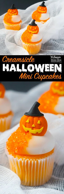 Halloween Jack O'-Lantern Mini Orange Cupcakes