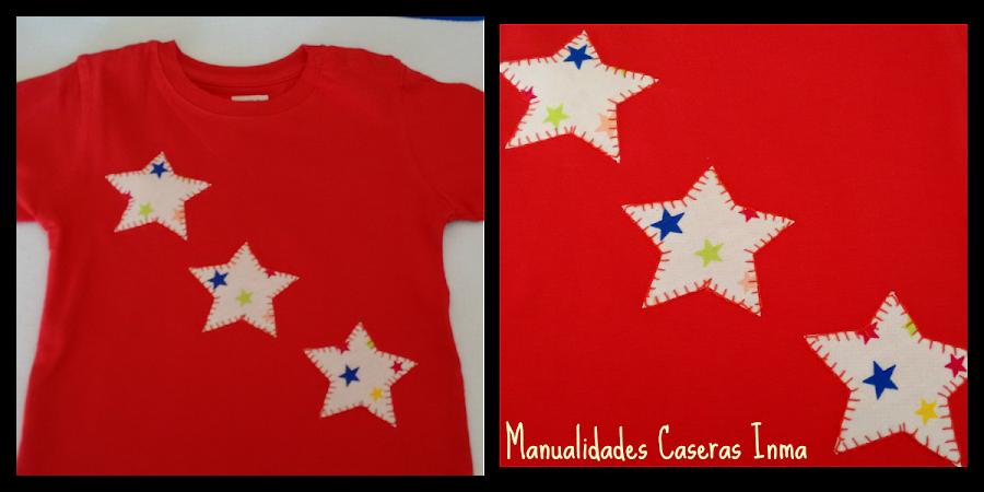 Manualidades Caseras Inma Camiseta rojade estrellas para bebé