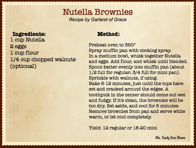 Nutella Brownies - Only 4 ingredients! Easiest bake-from-scratch recipe I've made...They take less than 5 minutes to prepare :) Ms. Toody Goo Shoes #Nutella