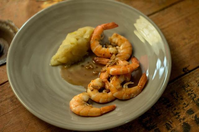 crevettes flambées au Calvados de Normandie